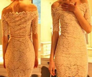 lace, cream pink, and off shoulder image