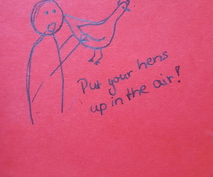 drawing, funny, and hens image