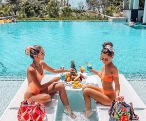 beauty, girls, and pool image