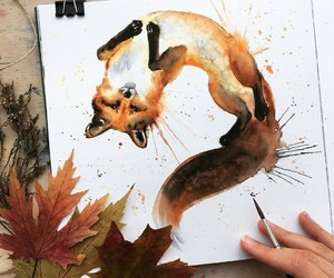art, autumn, and fox image