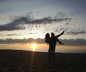 beach, sunset, and couples image