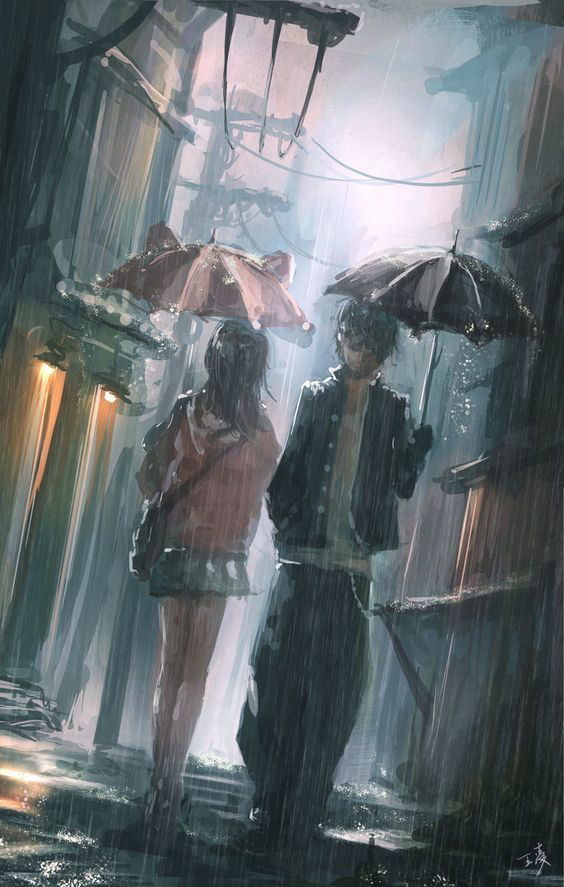 rain, anime, and couple image