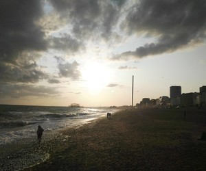 beach, romantic, and clouds image