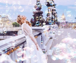 girl, beautiful, and bubbles image