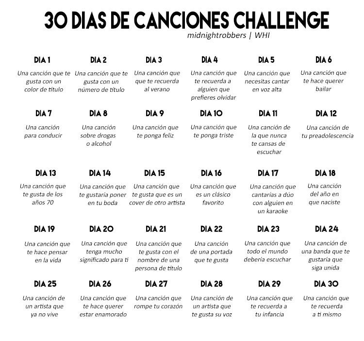 article, challenge, and 30 days song challenge image