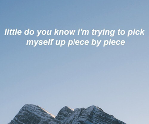 Lyrics, quote, and sad image