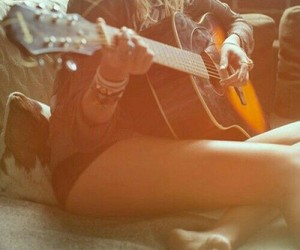 blond, girl, and guitar image