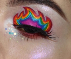 eye makeup, flame, and glitter image
