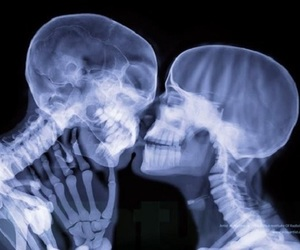 love, kiss, and skeleton image