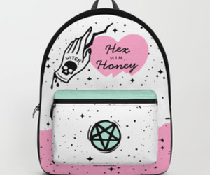 backpack, funny, and pink image