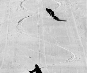 black and white, snowboarding, and white image