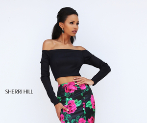 homecoming dress, floral print dress, and sherri hill 50584 image