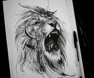 art, lion, and tattoo image
