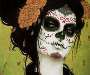 art, skull, and catrina image