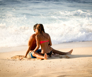 love, beach, and couple image