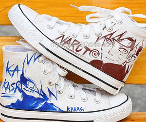 hand painted shoes, naruto converse, and naruto anime converse image