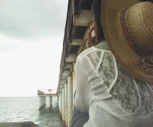 beach, beauty, and hat image