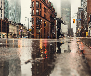 city, rain, and autumn image