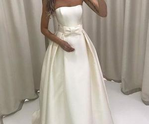long dress, white dress, and a line dress image