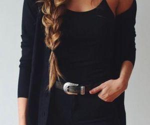 black, braid, and long hair image