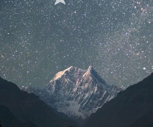 wallpaper, mountains, and stars image