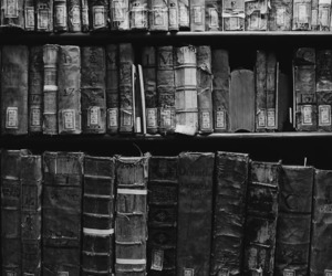 black and white, books, and dark image