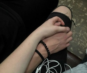 couple, hands, and black image