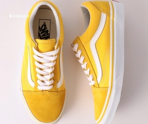 shoes, yellow, and vans image