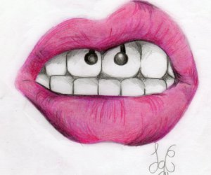 lips, drawing, and pink image