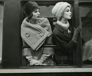vintage, black and white, and train image
