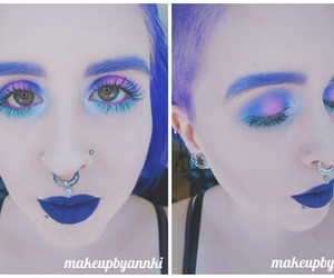 Indigo, pink and green halo eye with blue lips