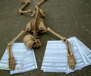 exam, papers, and skeleton image
