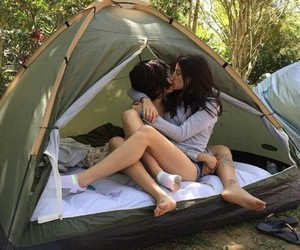 couple, love, and camping image
