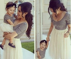 baby, matching, and daughter image