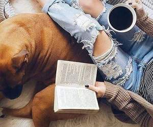 book, coffee, and dog image