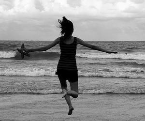 beach, bird, and girl image
