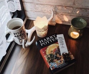 book, coffee, and leaves image