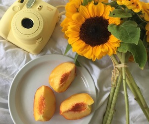 yellow, aesthetic, and peach image