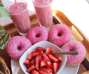donuts, food, and strawberry image