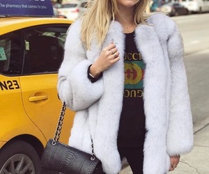 bag, fur coat, and gucci image
