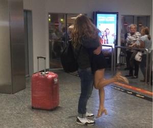 airport, couple, and hug image