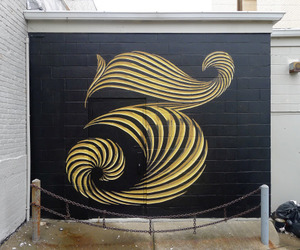 typography, mural, and number 3 image