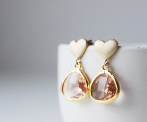 etsy, bridal earrings, and gold heart earrings image