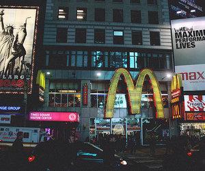 city, new york, and mc donalds image