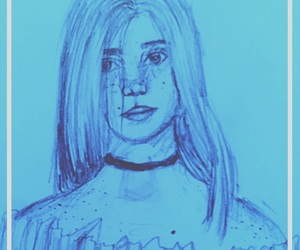 art, sketch, and blue image