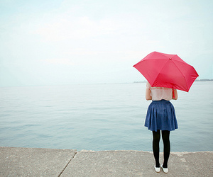 girl, umbrella, and sea image