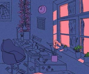 art, room, and pink image