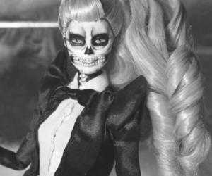 barbie, Lady gaga, and black and white image