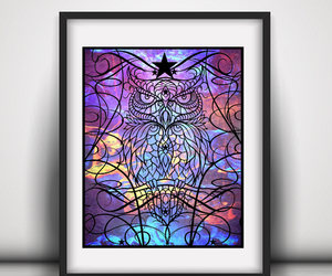 etsy, college student gift, and colorful owl image