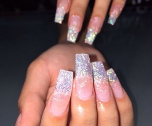 nails, glitter, and acrylic image